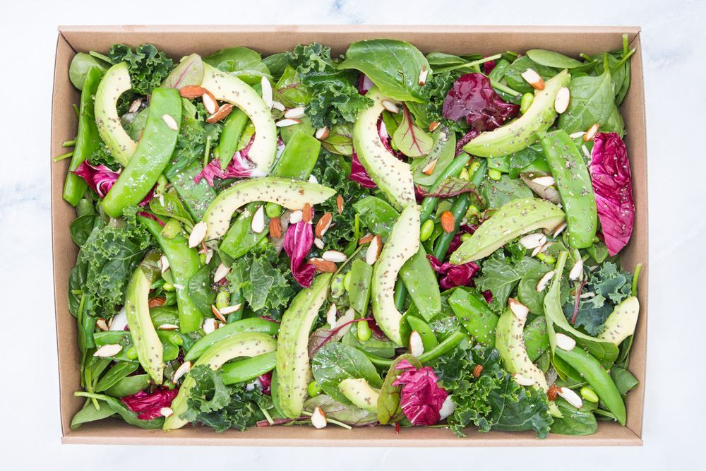 Green power salad; kale, baby spinach, avocado, beets, tatsoi, green legumes, edamame, chia seeds, raw almonds & turmeric ginger dressing (v/gf/df/vegan)